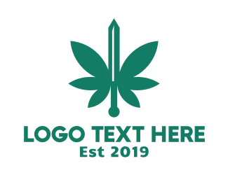 Herb - Green Cannabis Sword logo design