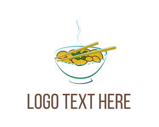 Chopsticks - Asian Soup logo design