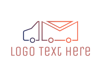 Post Office - Mail Truck Outline logo design