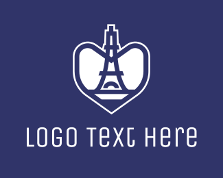 Parisian - Blue Heart Tower logo design