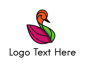 Grace - Purple Leaf Swan logo design