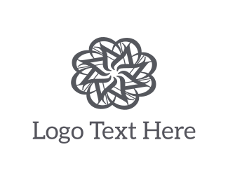 White And Gray - Grey Abstract Flower logo design