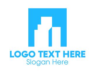 Business Center - Blue Box Buildings logo design