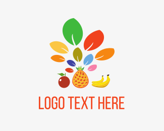 Juice Bar - Fruit Leaves logo design
