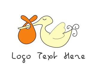 Pregnant - Stork & Baby logo design