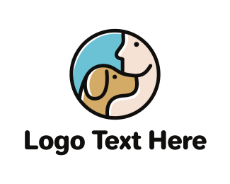 Dog Sitting - Dog & Man logo design