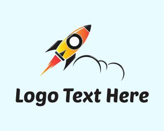 Cloud - Orange Rocket  logo design
