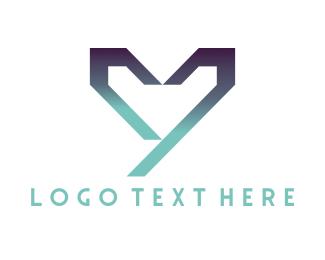 Valentine - Geometric Heart logo design