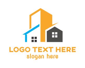 Townhouse - Yellow Building House logo design