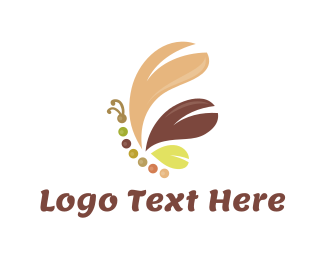 Fudge - Brown Butterfly logo design
