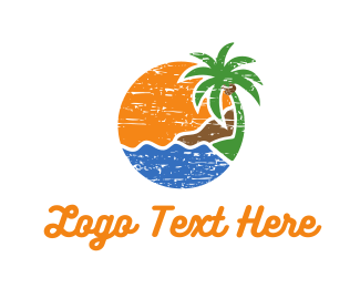 Coconut Tree - Tropical Circle logo design