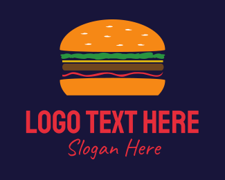 Lunch - Orange Hamburger logo design