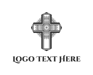 God - Floral Cross logo design