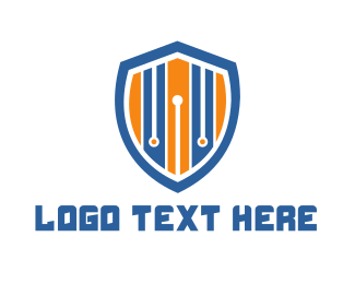 Protection - Stripe Shield logo design