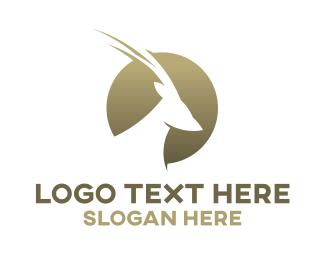 Antelope - Gold Sun Antelope logo design