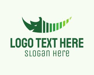 Tusk - Green Rhino logo design