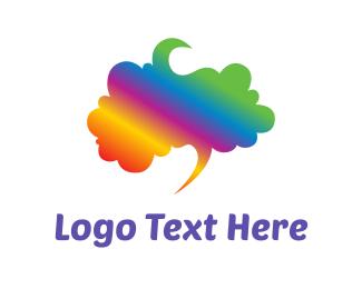 Speech - Rainbow Brain logo design