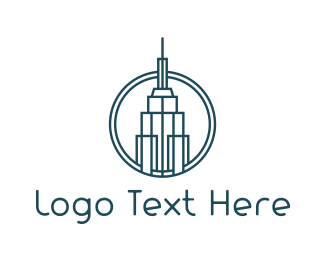 Minimalist - Blue Outline Tower logo design