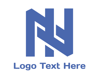 Solid - Blue Interlaced N logo design