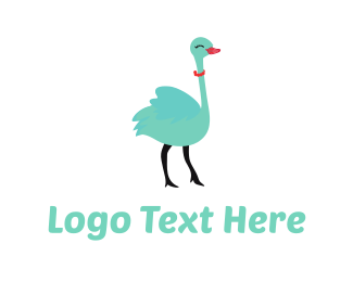 Necklace - Cute Ostrich Cartoon logo design