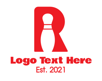 Typography - Red R Bowling Pin logo design