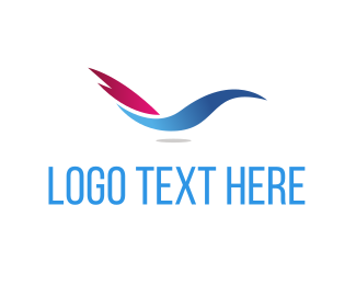 Airline - Abstract Blue Bird logo design