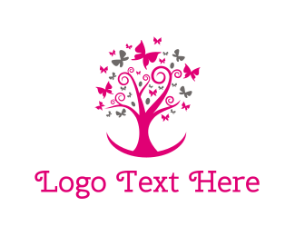 Kindness - Feminine Pink Tree logo design