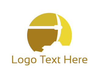 Dig - Gold Pickaxe logo design