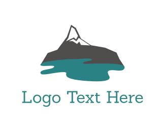 Rock - Mountain Lake logo design