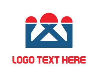 Temple - Red & Blue Crown logo design