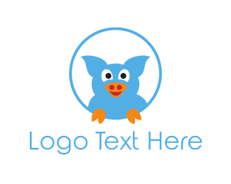 Pork - Blue Pig logo design