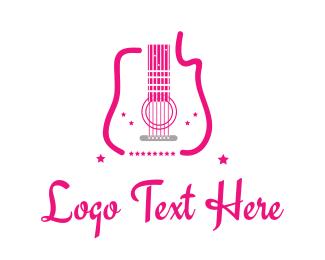 Music - Pink Guitar logo design