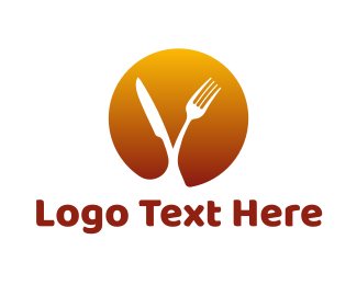 Food And Drink - Knife & Fork Circle logo design
