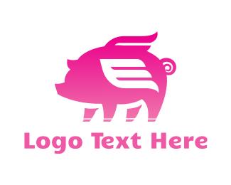 Farm - Flying Pink Pig logo design