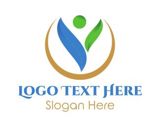 Vegan - Human Eco Circle logo design