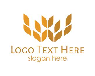 Fiber - Wheat Crown logo design