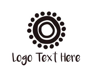 Black And White - Abstract Black Sun logo design