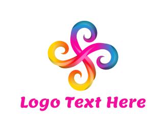 Cross - Swirl Flower logo design
