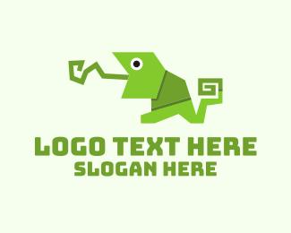 Reptile - Origami Chameleon logo design