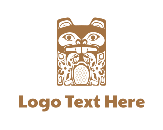 Hawaiian - Tiki Beaver Totem logo design