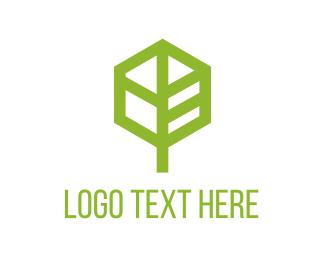 Leaf Hexagon logo design
