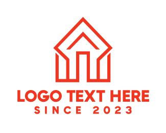 Rent - Orange Diamond House logo design