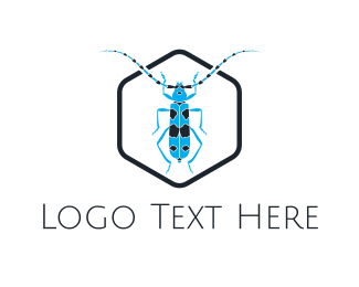 Fumigation - Blue Long Beetle logo design