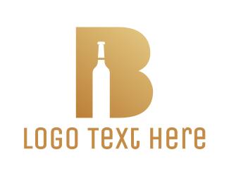 Champagne - Fancy B Bottle logo design