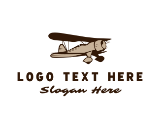 Flight School - Vintage Plane logo design