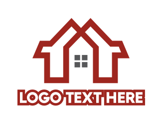 Double - Red Duplex House logo design