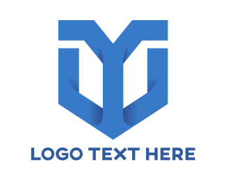 Letter Y - Blue Y Shield  logo design