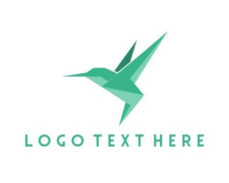 Geometric - Origami Hummingbird logo design