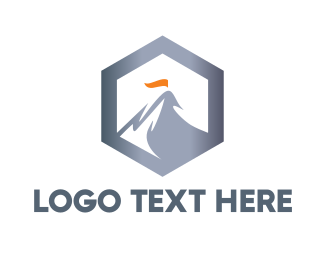 Destination - Hexagon Steel Mountain logo design