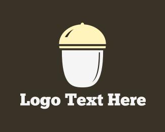 Eat - White Acorn logo design